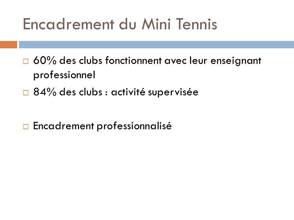 Encadrement du Mini Tennis 60% des clubs fonctionnent avec leur enseignant professionnel 84% des clubs : activité supervisée Encadrement professionnalisé