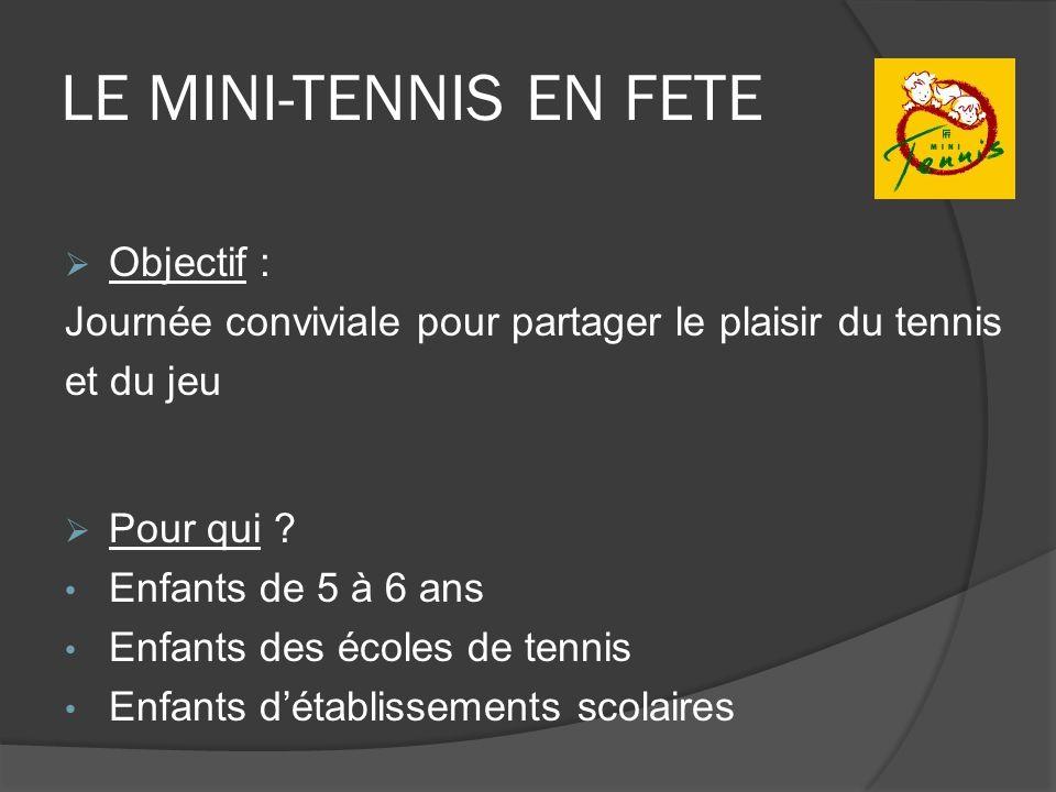 LE MINI-TENNIS EN FETE Objectif : Journée conviviale pour partager le plaisir du tennis et du jeu Pour qui ? Enfants de 5 à 6 ans Enfants des écoles d