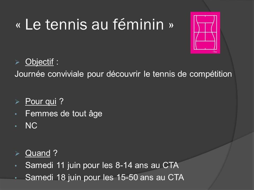 « Le tennis au féminin » Objectif : Journée conviviale pour découvrir le tennis de compétition Pour qui ? Femmes de tout âge NC Quand ? Samedi 11 juin