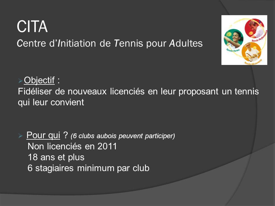 CITA Centre dInitiation de Tennis pour Adultes Objectif : Fidéliser de nouveaux licenciés en leur proposant un tennis qui leur convient Pour qui ? (6
