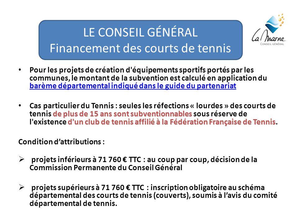 LE CONSEIL GÉNÉRAL Financement des courts de tennis Pour les projets de création d équipements sportifs portés par les communes, le montant de la subvention est calculé en application du barème départemental indiqué dans le guide du partenariat barème départemental indiqué dans le guide du partenariat de plus de 15 ans sont subventionnables d un club de tennis affilié à la Fédération Française de Tennis Cas particulier du Tennis : seules les réfections « lourdes » des courts de tennis de plus de 15 ans sont subventionnables sous réserve de l existence d un club de tennis affilié à la Fédération Française de Tennis.
