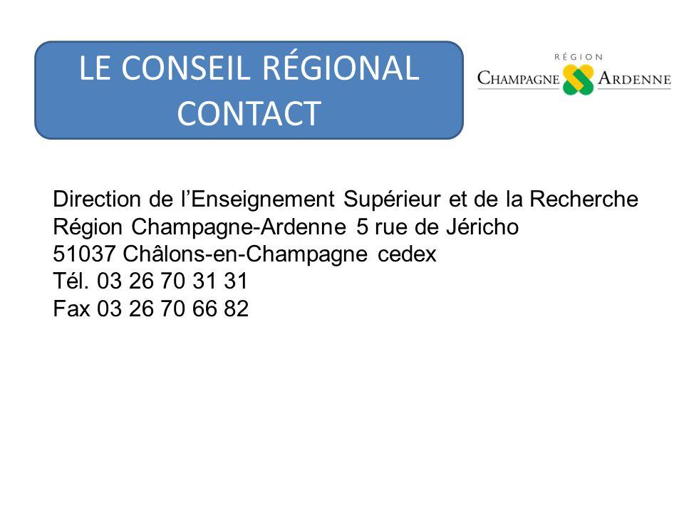 Direction de lEnseignement Supérieur et de la Recherche Région Champagne-Ardenne 5 rue de Jéricho 51037 Châlons-en-Champagne cedex Tél.