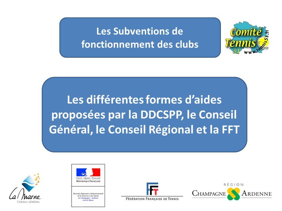 Les différentes formes daides proposées par la DDCSPP, le Conseil Général, le Conseil Régional et la FFT Les Subventions de fonctionnement des clubs