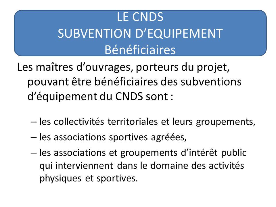 LE CNDS SUBVENTION DEQUIPEMENT Enveloppe nationale et régionale Niveau national : pour les projets supérieurs à 120.000 avec un taux théorique de subventionnement de 20% Niveau régional : pour les projets de 4500 à 120.000 euros avec un taux de subventionnement qui varie entre 20 et 40%.