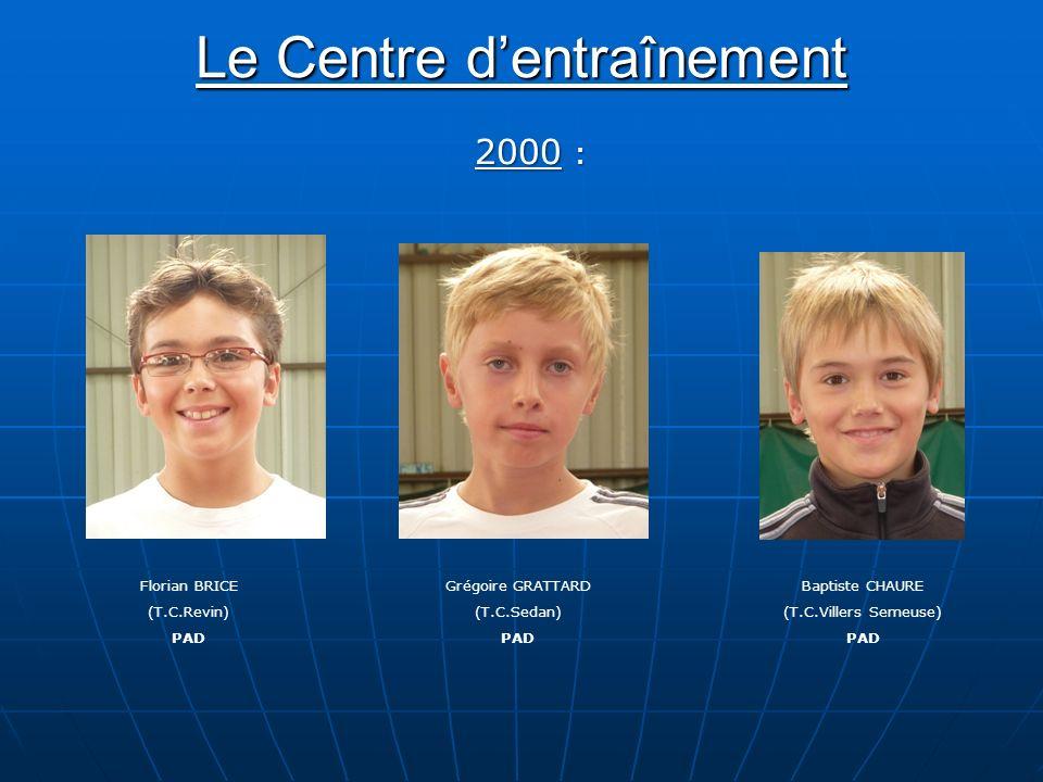 Le Centre dentraînement Florian BRICE (T.C.Revin) PAD Baptiste CHAURE (T.C.Villers Semeuse) PAD Grégoire GRATTARD (T.C.Sedan) PAD 2000 :