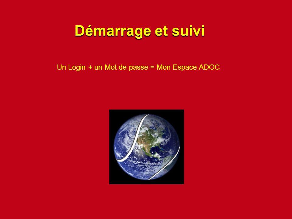 Un Login + un Mot de passe = Mon Espace ADOC Démarrage et suivi