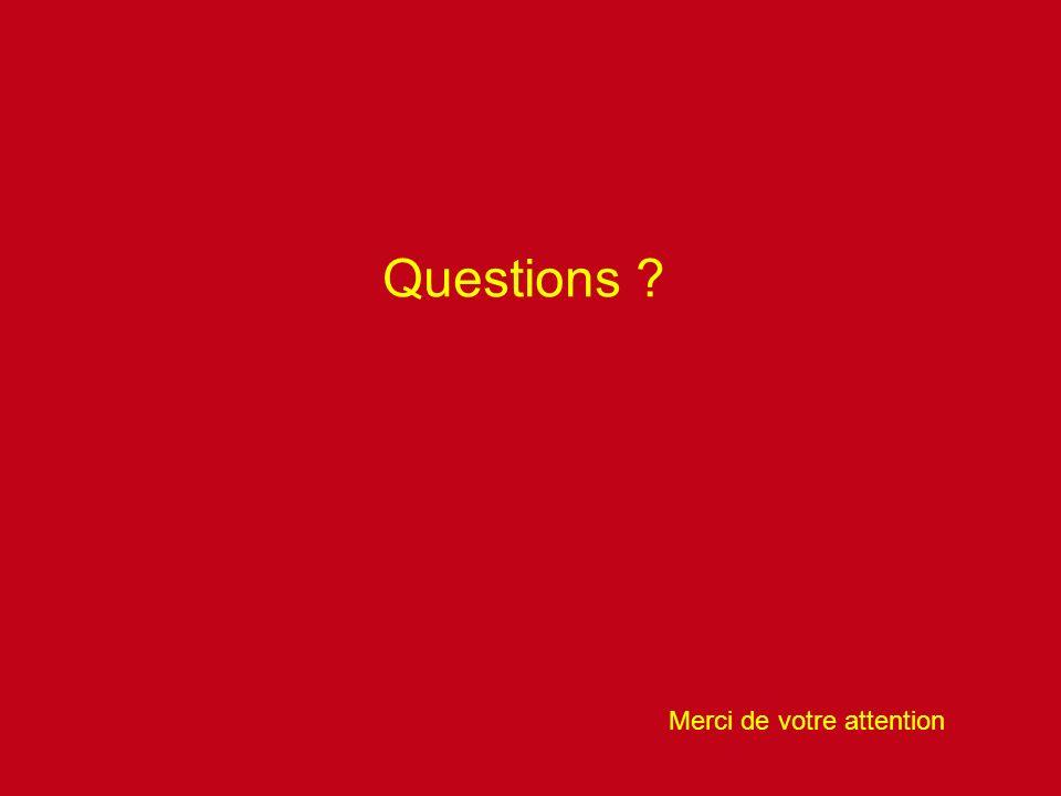 Questions ? Merci de votre attention