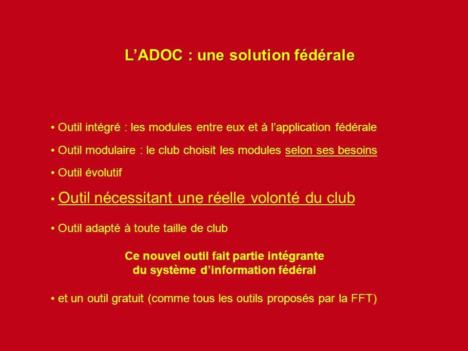 LADOC : une solution fédérale Outil intégré : les modules entre eux et à lapplication fédérale Outil modulaire : le club choisit les modules selon ses