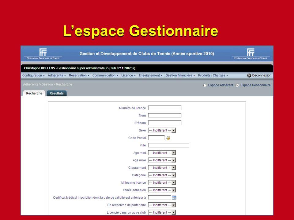 Lespace Gestionnaire