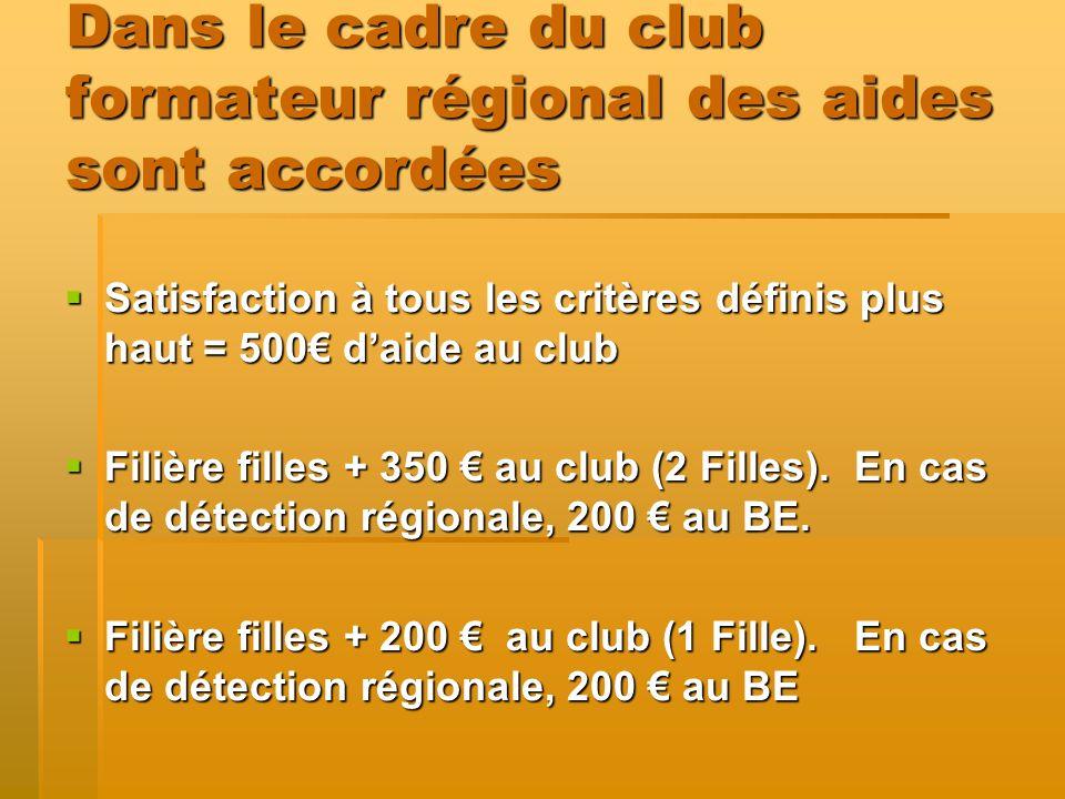 Dans le cadre du club formateur régional des aides sont accordées Satisfaction à tous les critères définis plus haut = 500 daide au club Satisfaction à tous les critères définis plus haut = 500 daide au club Filière filles + 350 au club (2 Filles).