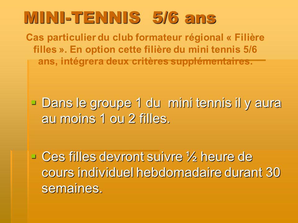 MINI-TENNIS 5/6 ans Dans le groupe 1 du mini tennis il y aura au moins 1 ou 2 filles. Dans le groupe 1 du mini tennis il y aura au moins 1 ou 2 filles