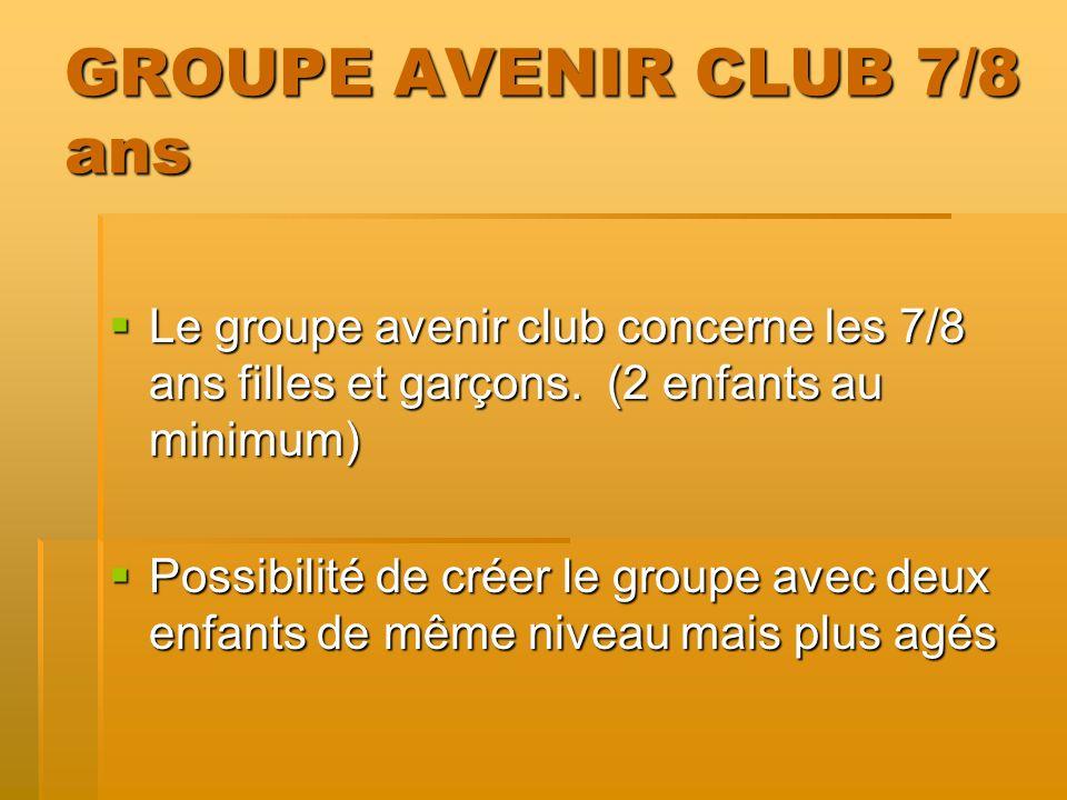 GROUPE AVENIR CLUB 7/8 ans Le groupe avenir club concerne les 7/8 ans filles et garçons. (2 enfants au minimum) Le groupe avenir club concerne les 7/8