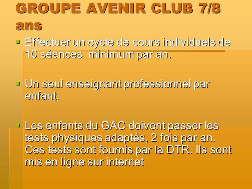 GROUPE AVENIR CLUB 7/8 ans Effectuer un cycle de cours individuels de 10 séances minimum par an.