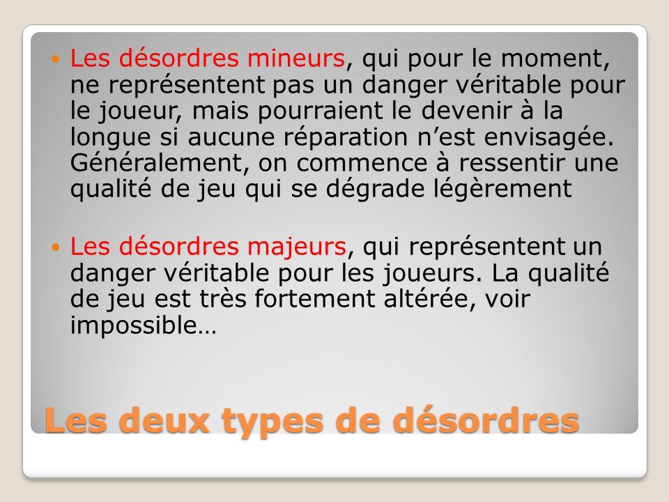 Les deux types de désordres Les désordres mineurs, qui pour le moment, ne représentent pas un danger véritable pour le joueur, mais pourraient le deve