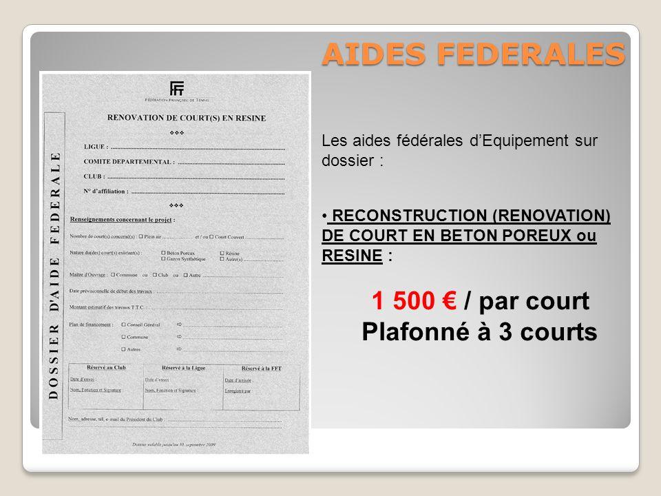 AIDES FEDERALES Les aides fédérales dEquipement sur dossier : RECONSTRUCTION (RENOVATION) DE COURT EN BETON POREUX ou RESINE : 1 500 / par court Plafo