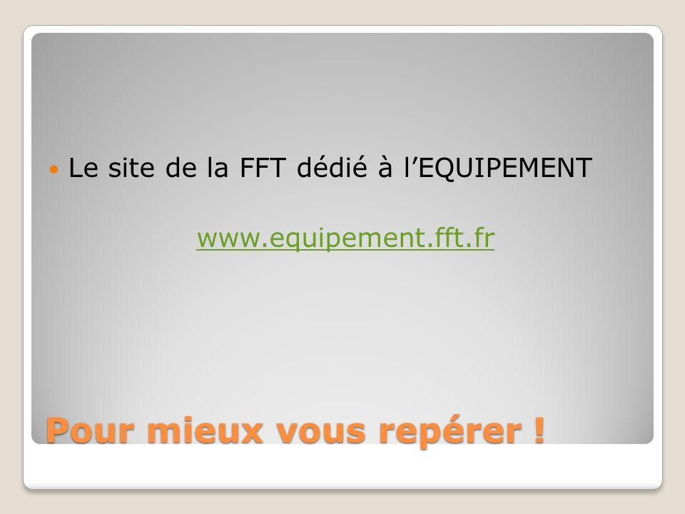 Pour mieux vous repérer ! Le site de la FFT dédié à lEQUIPEMENT www.equipement.fft.fr