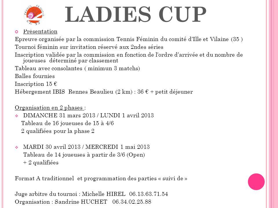 LADIES CUP Présentation Epreuve organisée par la commission Tennis Féminin du comité dIlle et Vilaine (35 ) Tournoi féminin sur invitation réservé aux