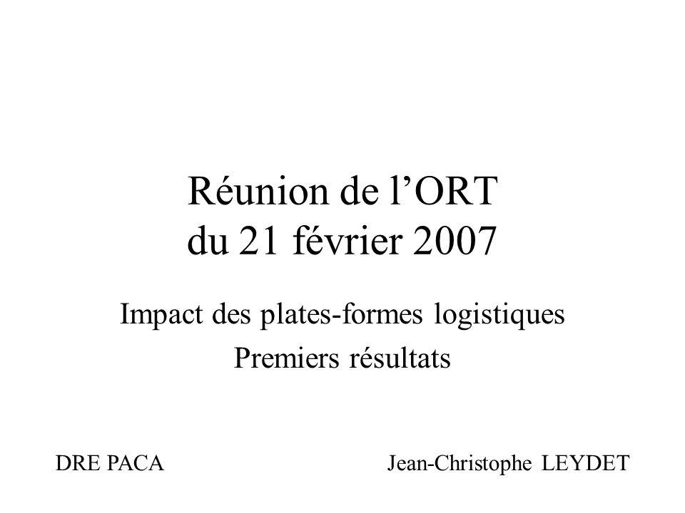Réunion de lORT du 21 février 2007 Impact des plates-formes logistiques Premiers résultats DRE PACA Jean-Christophe LEYDET