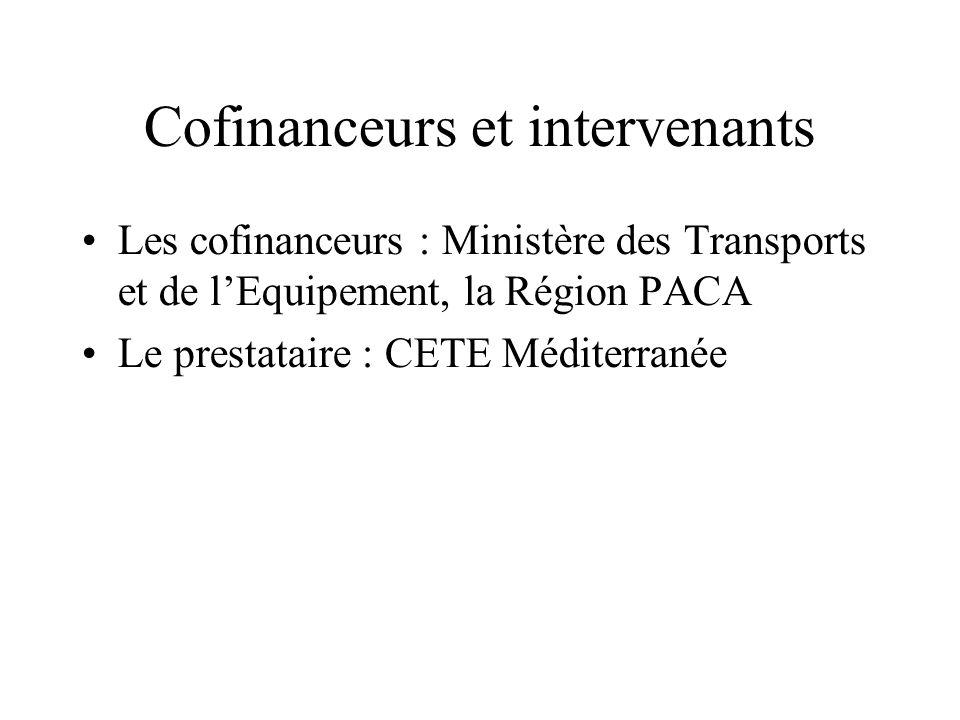 Cofinanceurs et intervenants Les cofinanceurs : Ministère des Transports et de lEquipement, la Région PACA Le prestataire : CETE Méditerranée