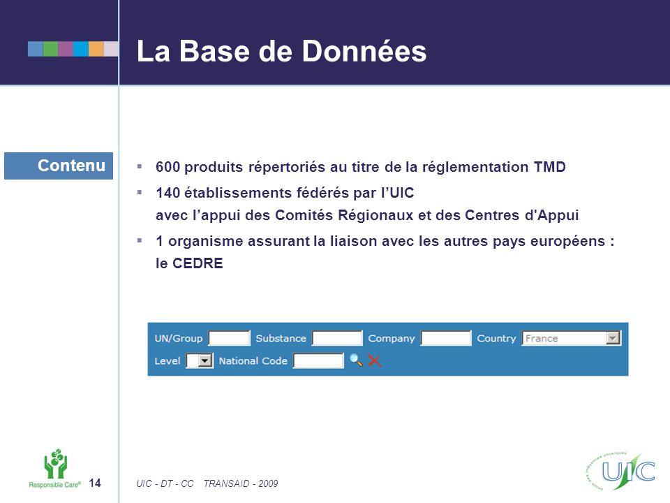 14 UIC - DT - CCTRANSAID - 2009 La Base de Données 600 produits répertoriés au titre de la réglementation TMD 140 établissements fédérés par lUIC avec lappui des Comités Régionaux et des Centres d Appui 1 organisme assurant la liaison avec les autres pays européens : le CEDRE Contenu