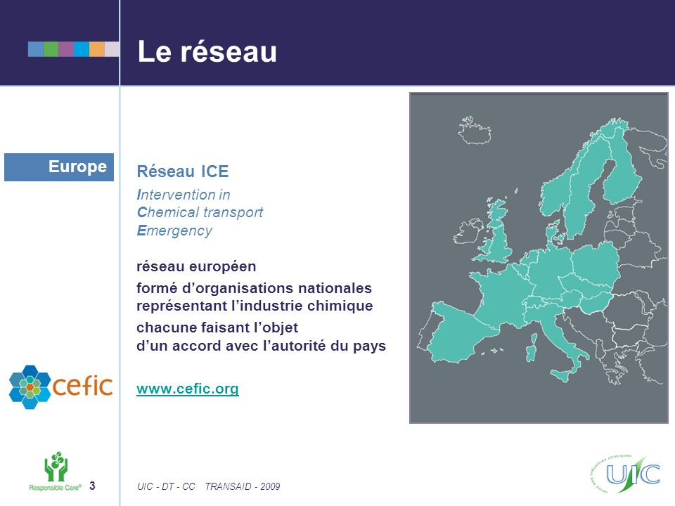 3 UIC - DT - CCTRANSAID - 2009 Le réseau Réseau ICE Intervention in Chemical transport Emergency réseau européen formé dorganisations nationales repré