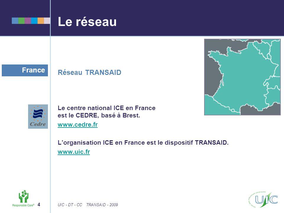 4 UIC - DT - CCTRANSAID - 2009 Le réseau Réseau TRANSAID Le centre national ICE en France est le CEDRE, basé à Brest.