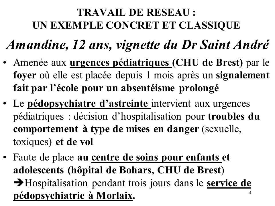 4 TRAVAIL DE RESEAU : UN EXEMPLE CONCRET ET CLASSIQUE Amandine, 12 ans, vignette du Dr Saint André Amenée aux urgences pédiatriques (CHU de Brest) par