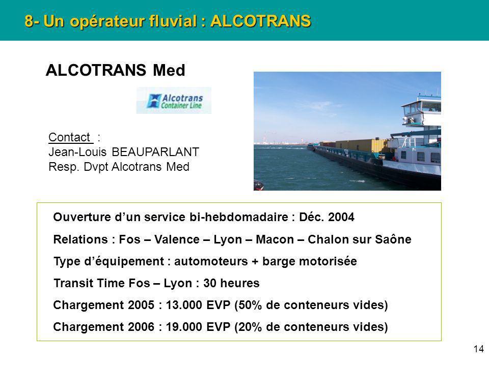 14 8- Un opérateur fluvial : ALCOTRANS ALCOTRANS Med Ouverture dun service bi-hebdomadaire : Déc. 2004 Relations : Fos – Valence – Lyon – Macon – Chal