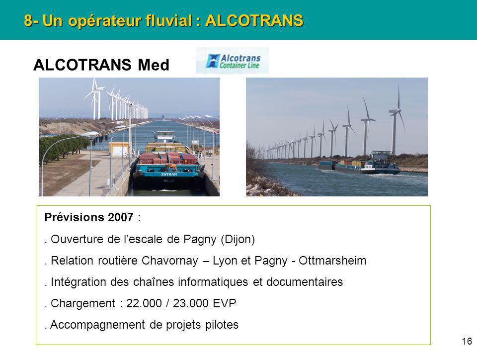 16 8- Un opérateur fluvial : ALCOTRANS ALCOTRANS Med Prévisions 2007 :. Ouverture de lescale de Pagny (Dijon). Relation routière Chavornay – Lyon et P