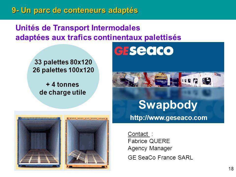 18 9- Un parc de conteneurs adaptés Unités de Transport Intermodales adaptées aux trafics continentaux palettisés 33 palettes 80x120 26 palettes 100x1