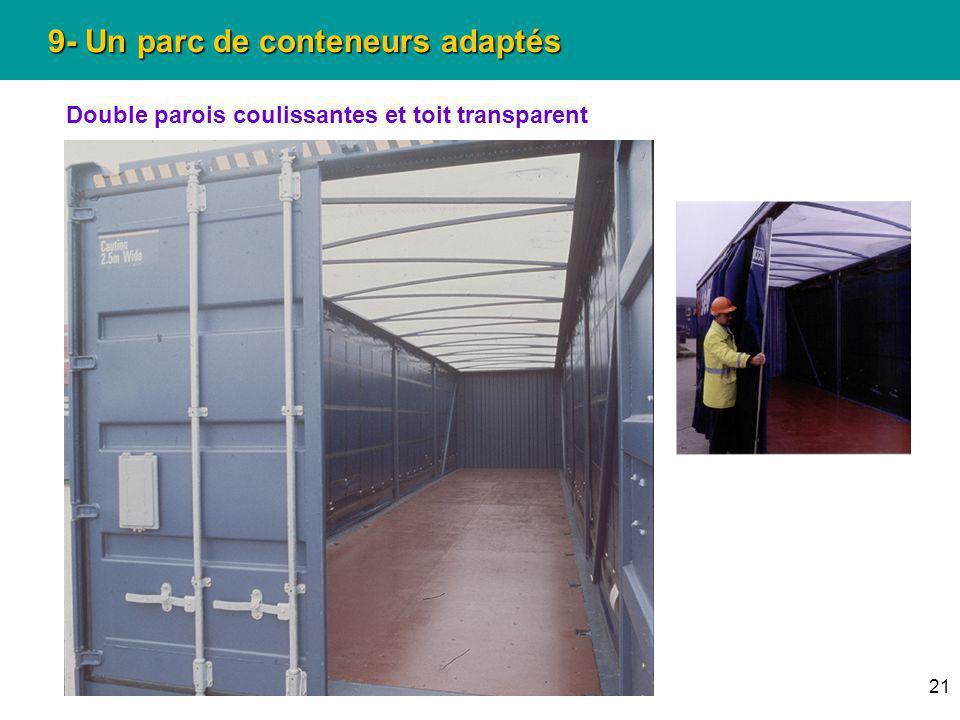 21 9- Un parc de conteneurs adaptés Double parois coulissantes et toit transparent