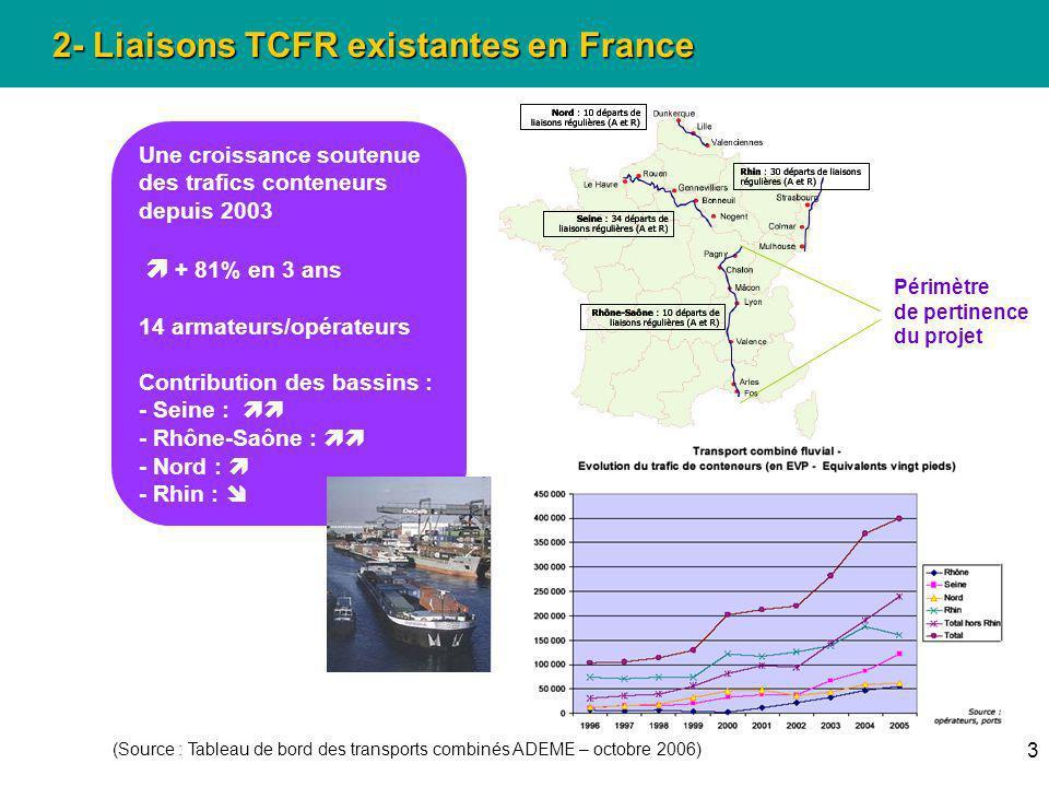 3 2- Liaisons TCFR existantes en France (Source : Tableau de bord des transports combinés ADEME – octobre 2006) Une croissance soutenue des trafics co
