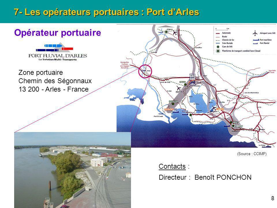 8 7- Les opérateurs portuaires : Port dArles Opérateur portuaire Zone portuaire Chemin des Ségonnaux 13 200 - Arles - France Contacts : Directeur : Be