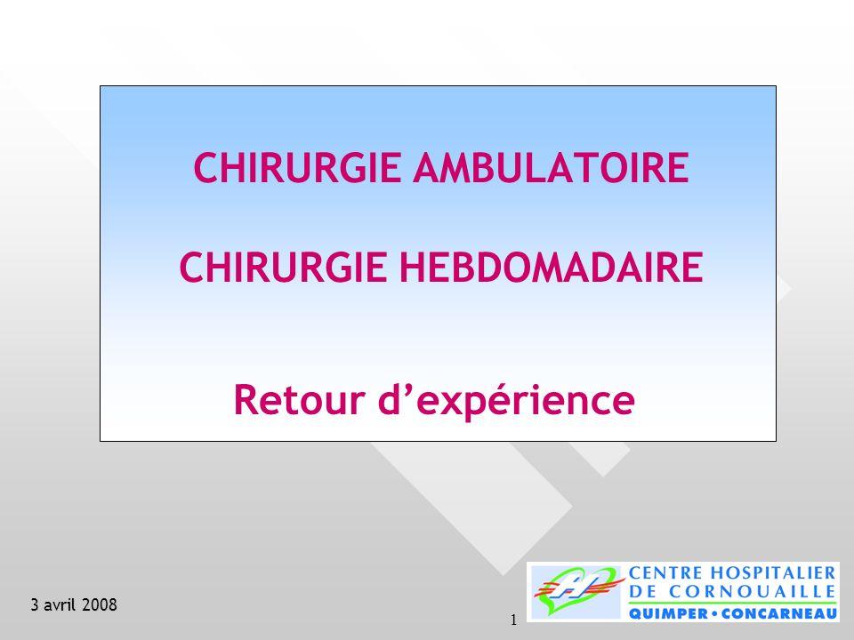 1 CHIRURGIE AMBULATOIRE CHIRURGIE HEBDOMADAIRE Retour dexpérience 3 avril 2008