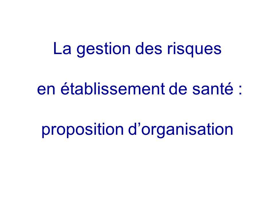 La gestion des risques en établissement de santé : proposition dorganisation