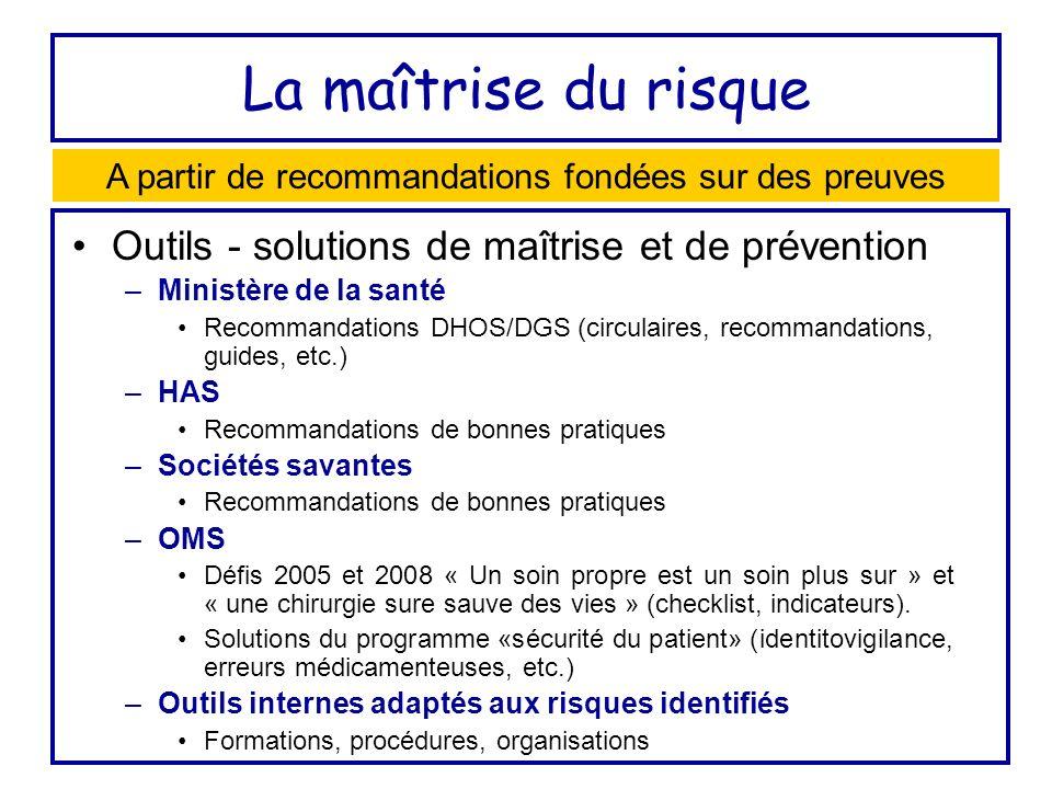 La maîtrise du risque Outils - solutions de maîtrise et de prévention –Ministère de la santé Recommandations DHOS/DGS (circulaires, recommandations, g