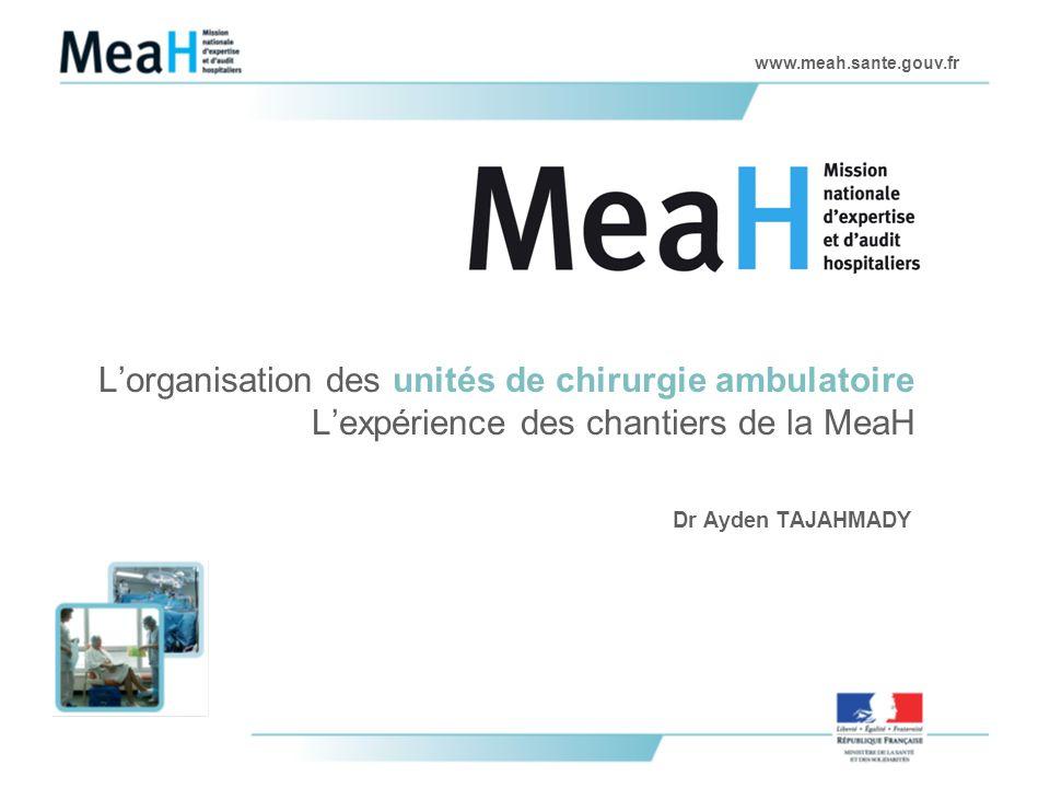 www.meah.sante.gouv.fr Lorganisation des unités de chirurgie ambulatoire Lexpérience des chantiers de la MeaH Dr Ayden TAJAHMADY