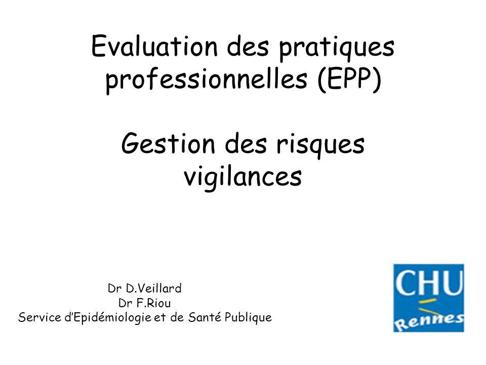 Evaluation des pratiques professionnelles (EPP) Gestion des risques vigilances Dr D.Veillard Dr F.Riou Service dEpidémiologie et de Santé Publique