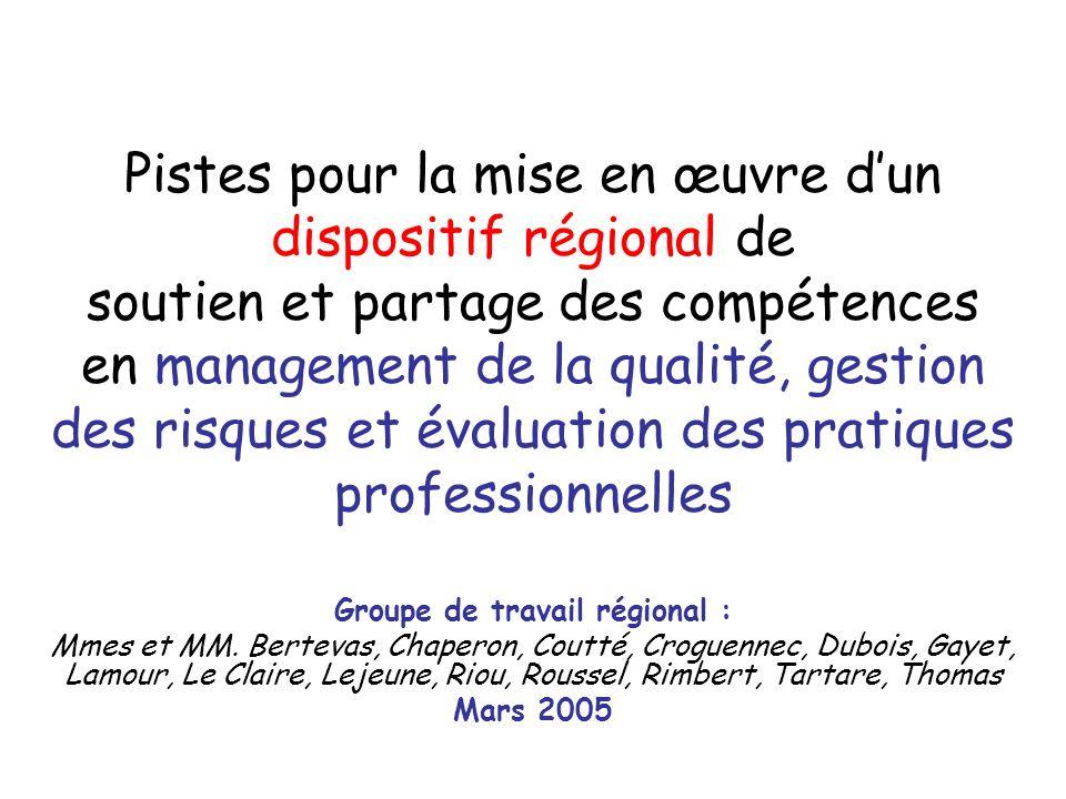 Pistes pour la mise en œuvre dun dispositif régional de soutien et partage des compétences en management de la qualité, gestion des risques et évaluat