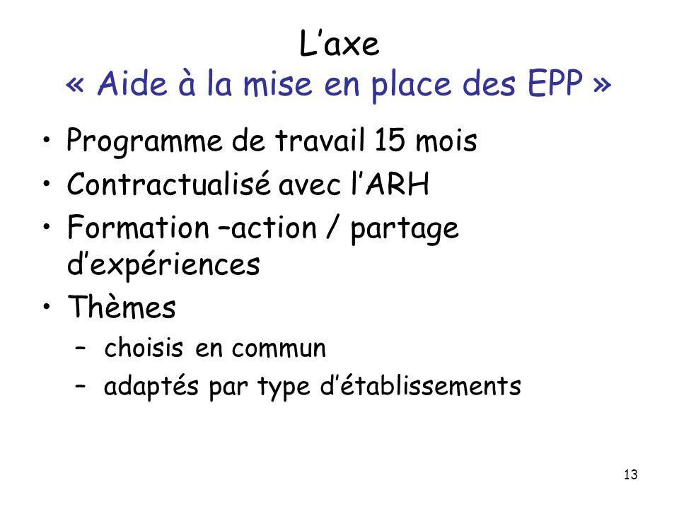 13 Laxe « Aide à la mise en place des EPP » Programme de travail 15 mois Contractualisé avec lARH Formation –action / partage dexpériences Thèmes – ch