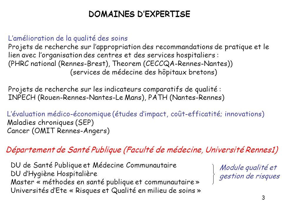 3 DOMAINES DEXPERTISE Lamélioration de la qualité des soins Projets de recherche sur lappropriation des recommandations de pratique et le lien avec lo