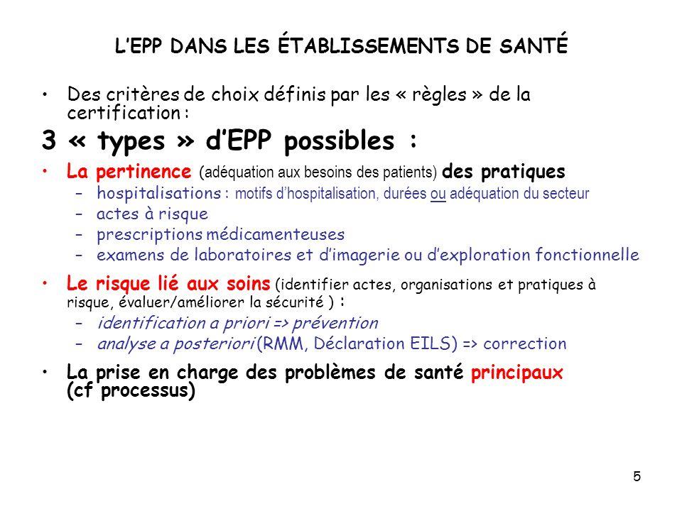5 LEPP DANS LES ÉTABLISSEMENTS DE SANTÉ Des critères de choix définis par les « règles » de la certification : 3 « types » dEPP possibles : La pertine