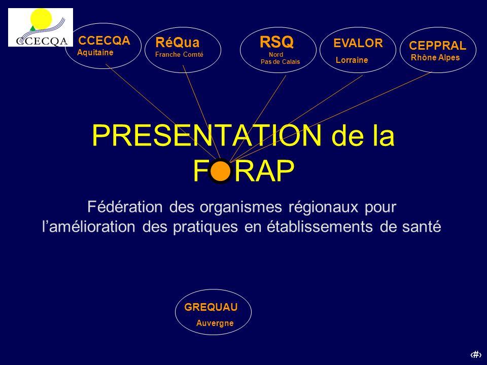 27 PRESENTATION de la FORAP RéQua Franche Comté RSQ Nord Pas de Calais EVALOR Lorraine CEPPRAL Rhône Alpes GREQUAU Auvergne Fédération des organismes