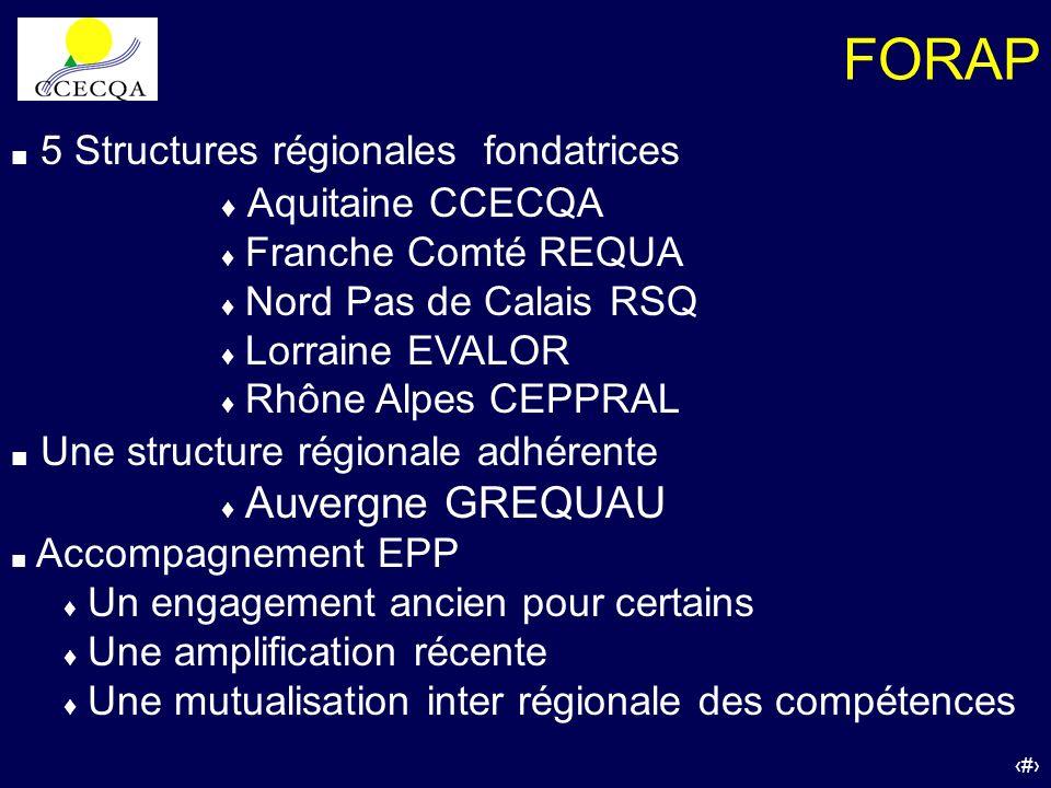 30 5 Structures régionales fondatrices Aquitaine CCECQA Franche Comté REQUA Nord Pas de Calais RSQ Lorraine EVALOR Rhône Alpes CEPPRAL Une structure r