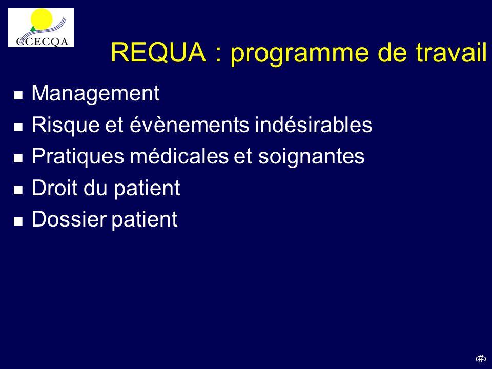 33 REQUA : programme de travail n Management n Risque et évènements indésirables n Pratiques médicales et soignantes n Droit du patient n Dossier pati