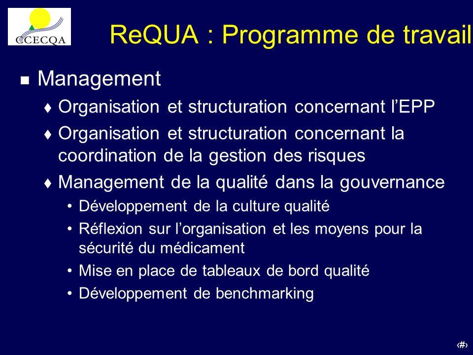 34 ReQUA : Programme de travail n Management t Organisation et structuration concernant lEPP t Organisation et structuration concernant la coordinatio