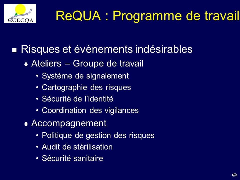 35 ReQUA : Programme de travail n Risques et évènements indésirables t Ateliers – Groupe de travail Système de signalement Cartographie des risques Sé