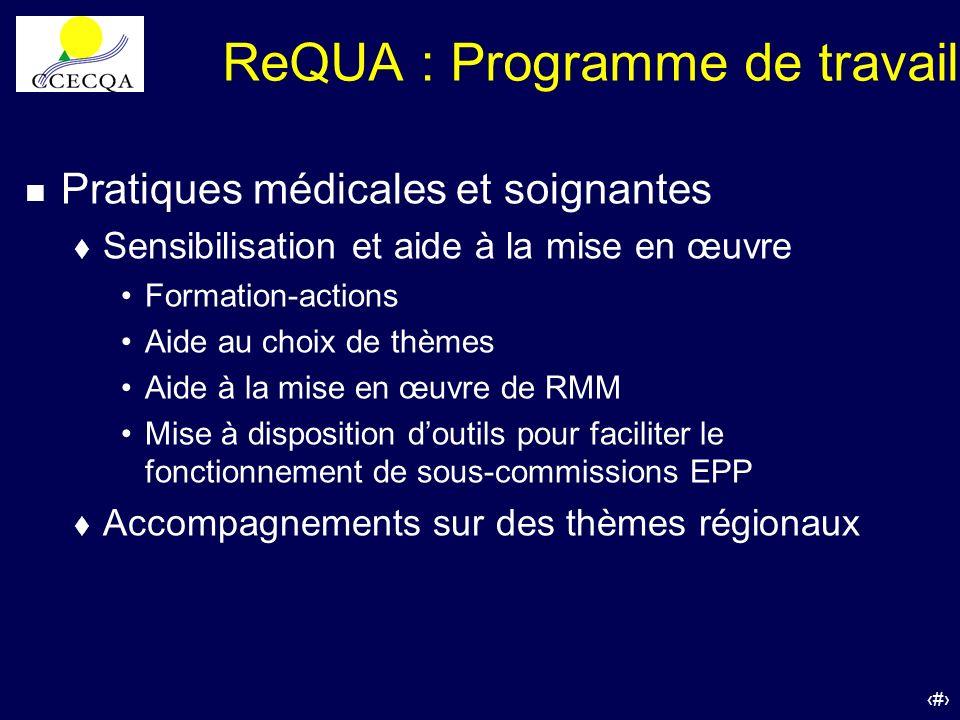 36 ReQUA : Programme de travail n Pratiques médicales et soignantes t Sensibilisation et aide à la mise en œuvre Formation-actions Aide au choix de th