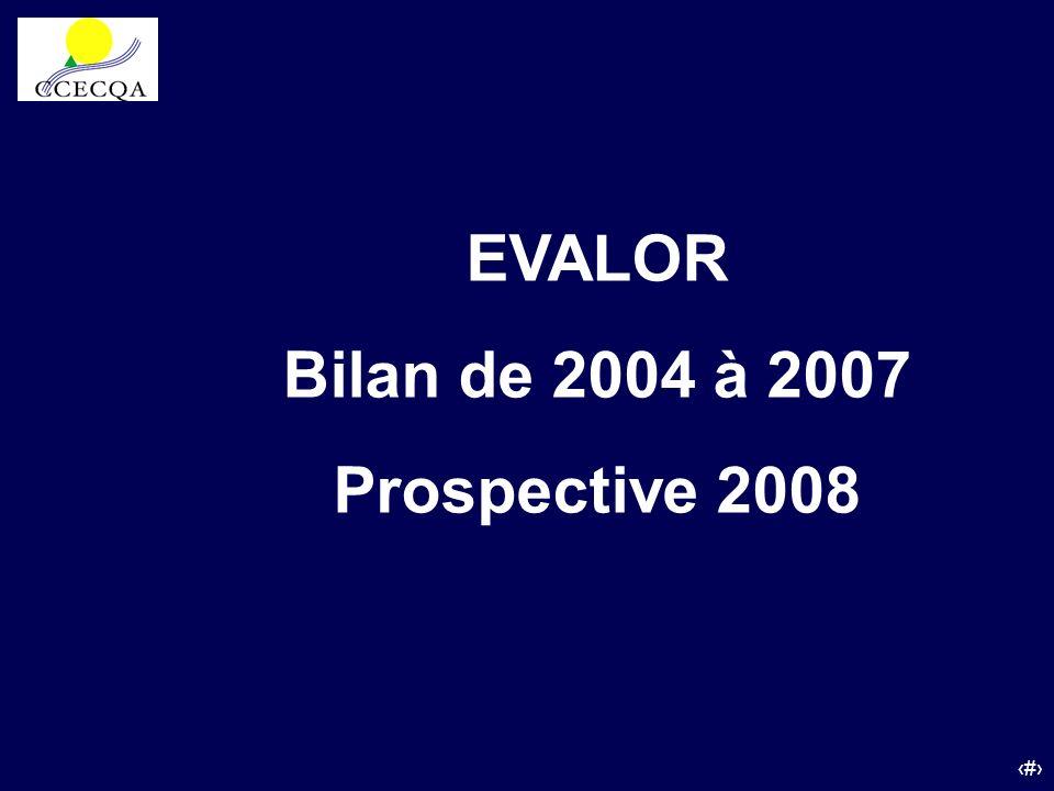37 EVALOR Bilan de 2004 à 2007 Prospective 2008