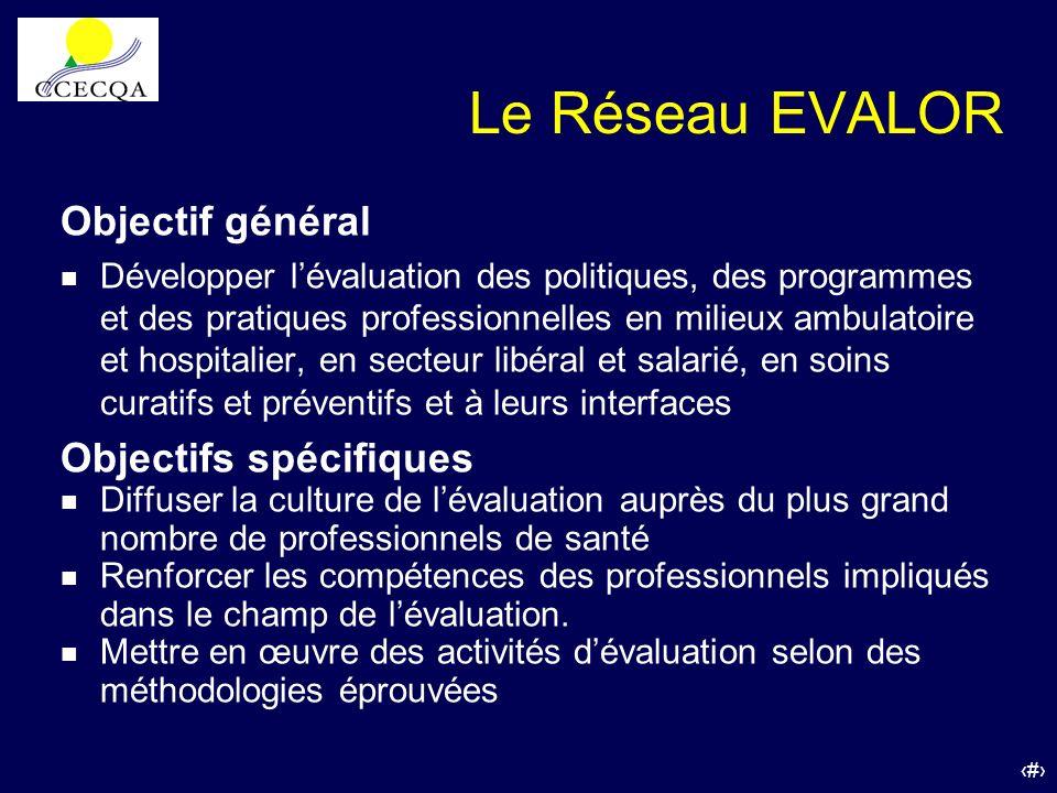 39 Le Réseau EVALOR Objectif général n Développer lévaluation des politiques, des programmes et des pratiques professionnelles en milieux ambulatoire